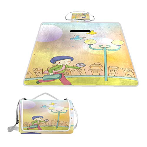 - Time Management Concept Picnic Blanket Outdoor Beach Handy Mat for Travel, Camping, Hiking and Music Festival 57x59 inch