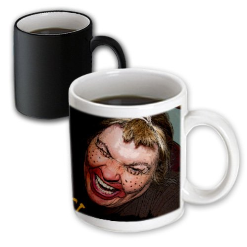 3dRose mug_49539_3 Lady Dressed Up Like Ugly Clown for Halloween with Her Face Very Animated, Silly and Scary Magic Transforming Mug, 11-Ounce