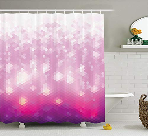 Ambesonne Magenta Decor Shower Curtain by, Psychedelic Futuristic Hexagon Design with Neon Lights Trendy Modern Print, Fabric Bathroom Decor Set with Hooks, 70 Inches, Violet Taffy
