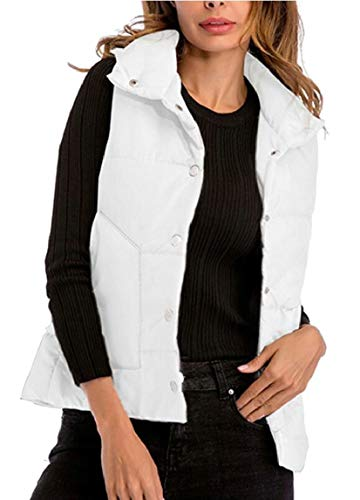Padded Vest Quilted Warm White Stand security Lightweight Women's Jacket Collar qwBwYS8