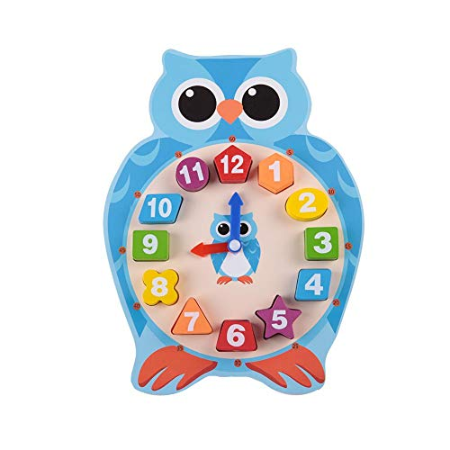 - Cute Adorable Cartoon Owl Frog Clocks Time Number Puzzle Learning Toy Teaching Clocks Baby Kids Early Educational Toys Wooden Shape Sorting Clock for Children Boys Girls(Owl)