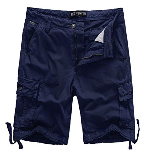 WenVen Men's Active Cargo Shorts Cotton Outdoor Wear Lightweight (WV3229 Blue,34) ()