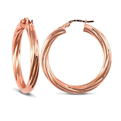Or Rose 9carats 4mm Twist-Boucles d'Oreilles Créoles Femme -