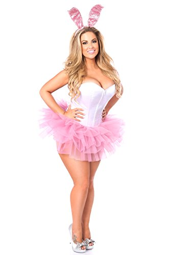 Pink Sequin Bunny Costumes (Daisy Corsets Women's Lavish Innocent Bunny Corset Costume, Pink, Small)