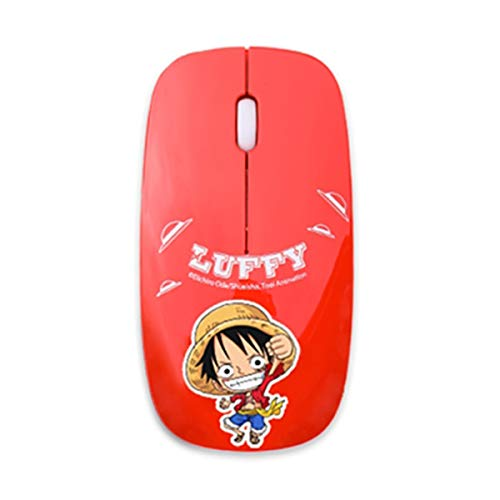 RETO-Onepiece Character Wireless Portable Mobile Mouse Optical Mice with USB Receiver for Notebook, PC, Laptop, Computer – Slim Type(Red,Blue,Pink) (Red) ()