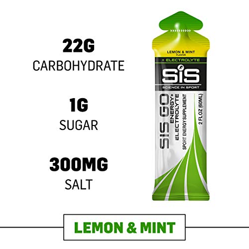 Science in Sport Energy Gel Pack, SIS Energy Gel + Electrolyte, 22g Fast Acting Carbs, Performance & Endurance Gels, Lemon & Mint Flavor – 2 Oz. (30 Pack)