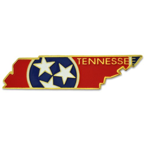PinMart State Shape of Tennessee and Tennessee Flag Lapel - Tennessee Pin Lapel