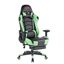 Top Gamer Computer Gaming Chair PC Racing Chairs with Footrest(Green/Black)