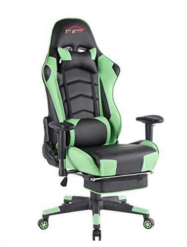 Top Gamer Ergonomic Gaming Chair High back Swivel Computer Office Chair with Footrest Adjusting Headrest and Lumbar Support Racing Chair (Green)