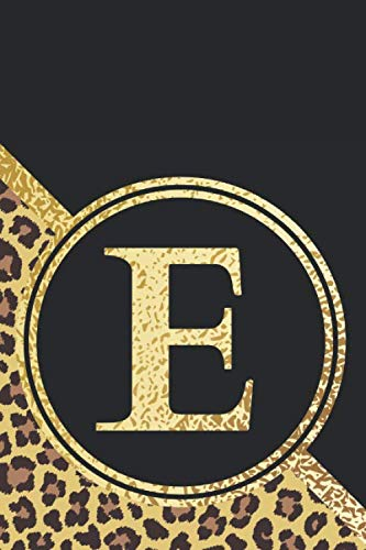 E Notebook: Initial E Monogram Blank Lined Notebook Journal Leopard Print Black and Gold