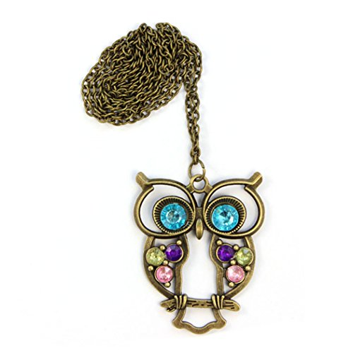 Blue Moon Freshwater Pearls (Crystal Necklace,Vanvler Fashion Lady Big Blue Eyed Owl Long Chain Pendant Sweater Coat Necklace (AS shown))