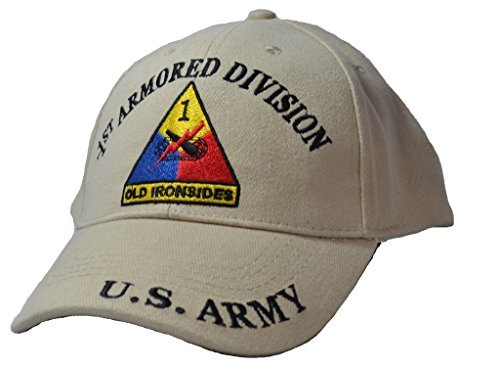 - Eagle Emblems Mens 1st Armored Division Tan Embroidered Ball Cap Adjustable Tan