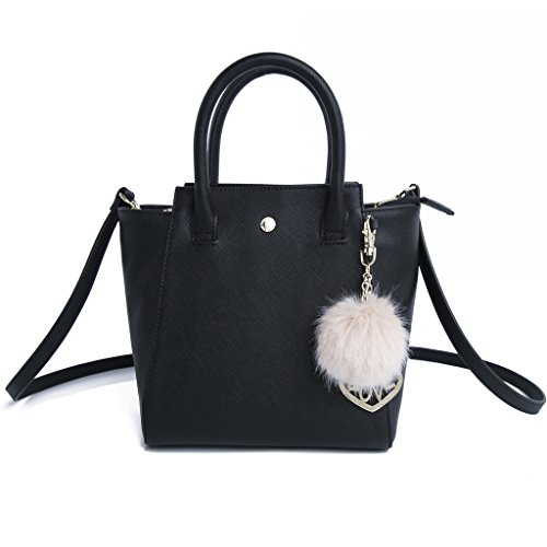 The Lovely Tote Co. Women's Small Solid PU Winged Top Handle Bag with Charm, Black, One Size (Winged Handbag Heart)