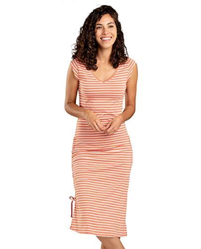 Toad&Co Women's Muse Dress, Salmon Coral Balanced Stripe, L - Salmon Stripe