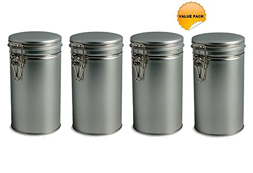 Nakpunar 4 pcs Airtight Tea Coffee Tins with Latch