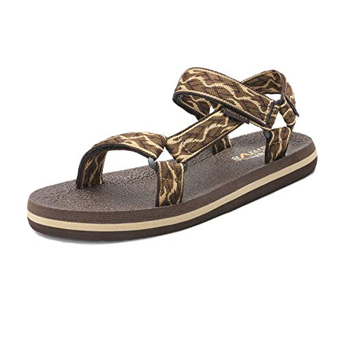 NORTIV 8 Men's 181114M Brown Beige Outdoor Walking Sandals Summer Beach Sandal Size 7 M US