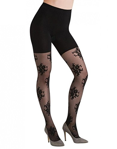 ASSETS Red Hot Label by Spanx Floral Patterned Tights (2 (410-59/115-150), Black)