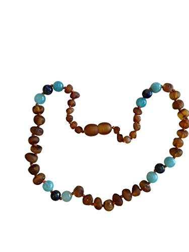 - Certified Baltic Amber and Gemstone Necklace by UMAI - Pain Relief from Teething - Unisex- Safely Knotted Beads (Raw Cognac/Turquoise/Lapis Lazuli)