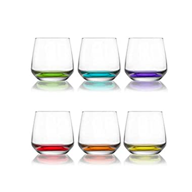 Colored Tumblers Whisky /Water /Juice Glasses 11 oz Set of 6 Gift Boxed