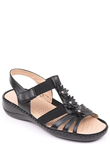 Cushion Sandal Ladies Walk Black Velcro 7w7vqA
