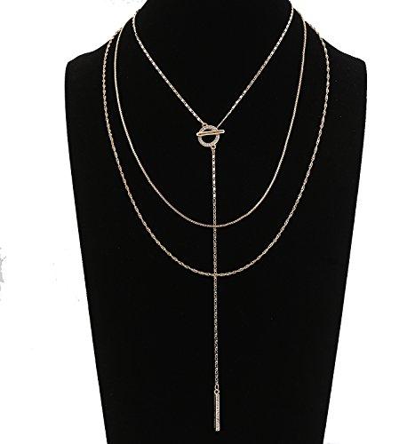 Seni Jewelry Gold Layered Choker Necklaces Circle Bar Pendant Necklaces CZ Rhinestone Crystal Y-Chain Minimalist Long Necklace Women