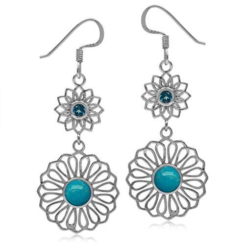 (6MM Genuine Arizona Turquoise&London Blue Topaz 925 Sterling Silver Filigree Flower Dangle Earrings)