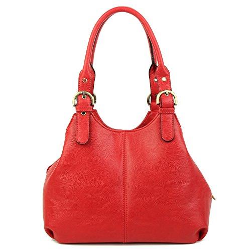 Women's Multi Pocket Shoulder Bag Top Handle Tote Bag Red