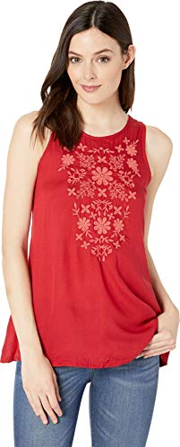 Roper Women's 2424 Solid Rayon Challis Tank Red - Roper Shirt Embroidered