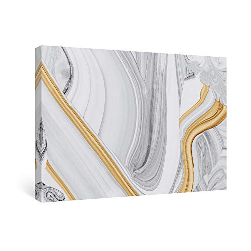 SUMGAR Abstract Wall Art Bedroom Modern Pictures Gold Framed Paintings Yellow Gray Canvas Prints Artwork,16x24 in (Art Gold And White)
