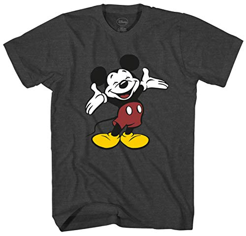 Disney Vintage Mickey Mouse Smile Men's Adult Graphic Tee T-Shirt (Charcoal Heather, Large) (Cartoon T Shirt Men)