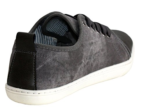Mens Gents Lace Up Canvas Denim Smart Toe Cap Casual Pumps Trainers Shoes UK sizes 7-12 Dark Grey 0r2AEij