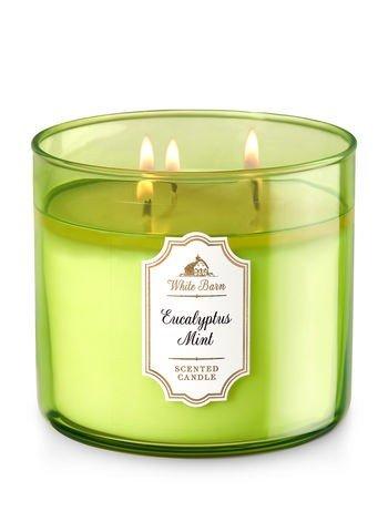 Bath & Body Works White Barn 3 Wick Candle Eucalyptus Mint 14.5 oz (Barn Candle)