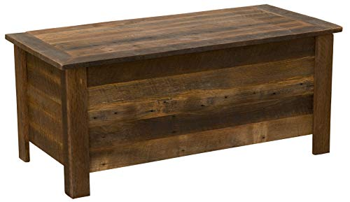 Fireside Lodge Furniture B12201 Barnwood Collection Handcrafted and Finished Oak Lift Top Bedroom Blanket/Linen Storage Chest