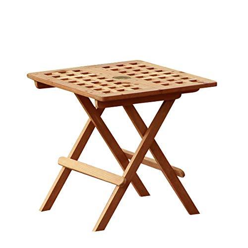 Atlanta Teak Furniture - Teak Folding Side Table with Umbrella Hole (Atlanta Teak)