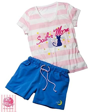 Sailor Moon x Peach John Border 20th Anniversary Pajamas (M)JAPAN Japanese