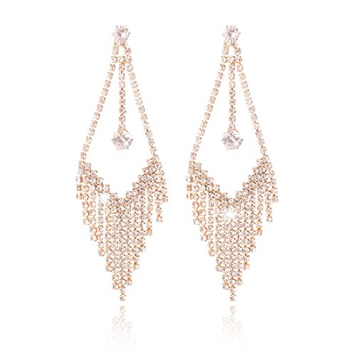 (SEVEN SPARKLE Fashion Rhinestone Earrings 925 Silver Tassels Earring Statement Drop Dangle Earrings for Women Girls Bride)