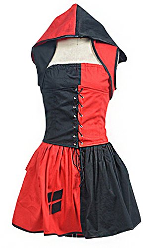 Mtxc Women's Batman: Arkham Asylum Cosplay Costume Harley Quinn Dress Size XX-large Red