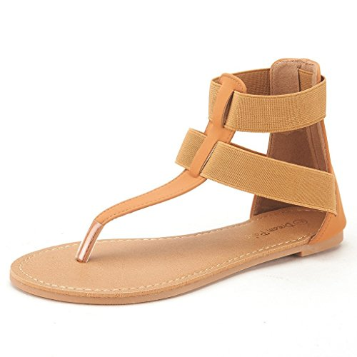 DREAM PAIRS ANKLASTIC Women Double Elastic Straps Summer Fashion Design Ankle Flat Sandals Tan Size 9