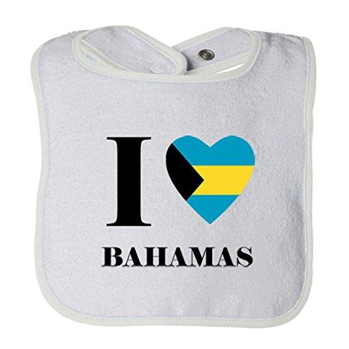 (Cute Rascals I Love Bahamas Tot Contrast Trim Terry Bib White)