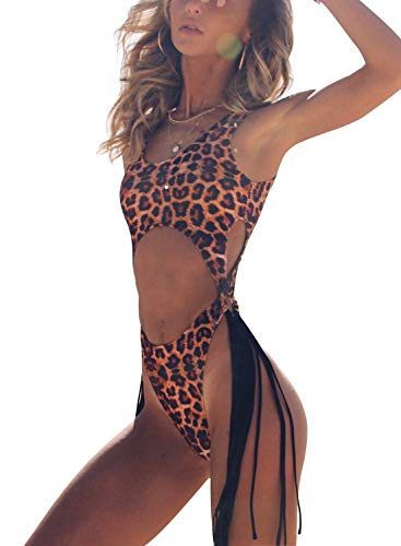 ALLureLove Swimsuits Bathing Suits Women Sexy Monokini Cut Out Bikini One Piece Cheeky Swimwear (Small, Leopard Print)