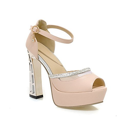Heels Soft Heel Electroplate Ladies Pink 1TO9 Material High Sandals qgwU6xFvIn