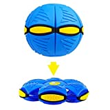 Magic Flying Saucer Ball Lost Ball Frisbee Ball Catch Ball UFO Magic Flash Darts Deformation Ball Frisbee Flying Discs Toy Soccer Game (blue)