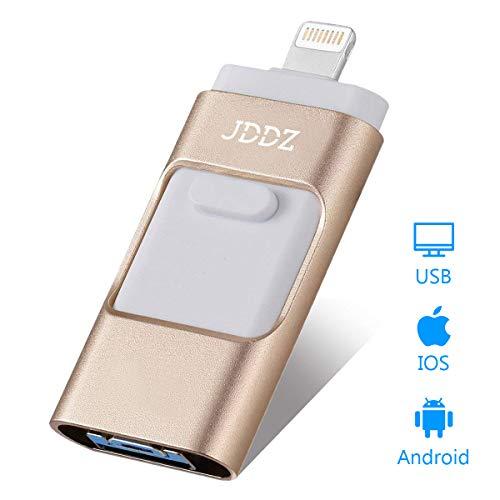 Apple Dual Memory - USB Flash Drives Compatible iPhone/iOS 128GB [3-in-1] Lightning OTG Jump Drive, JDDZ USB 3.0 Thumb Drive External USB Memory Storage, Flash Memory Stick Compatible Apple, iPad, Android & PC (Gold)