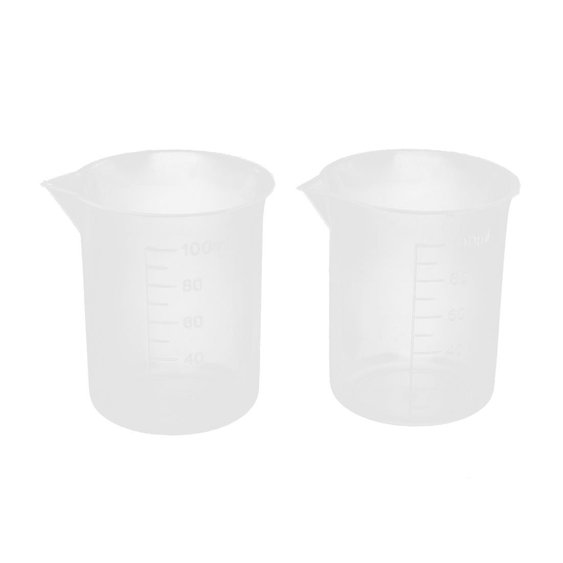 Uxcell a15020500ux0050 2 Pcs 100mL 3.4oZ Clear Plastic Graduated Measuring Beaker Cup for Lab (Pack of 2)
