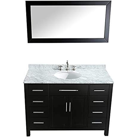 Bosconi Bathroom Vanities 47 Refined Single Vanity With Oval Under Mount Sink Cabinet 8 Drawers And A Mirror Black Carrara Marble
