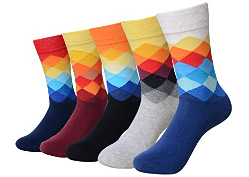 QBSM Mens Bright Dress Socks Party Wedding Funny Cool Argyle Pattern Multicolor Yellow Red Crew Socks 5 Pack (Argyle Pattern Yellow)
