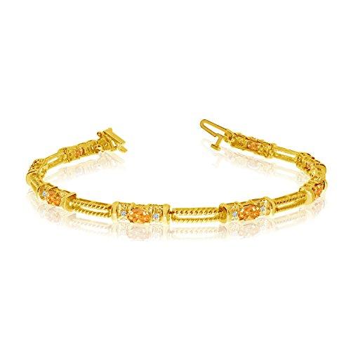 (1.20 Carat (ctw) 10k Yellow Gold Oval Citrine and Diamond Rope Textured Tennis Bracelet - 7