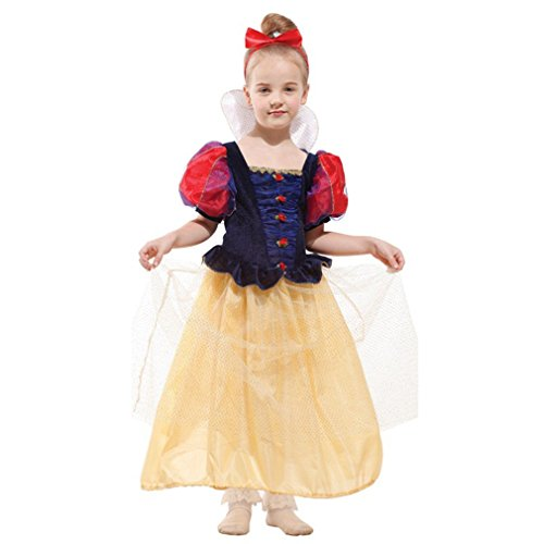 School Girl 4 Piece Costumes (Spooktacular Luxury Girls' Snow Princess Dress-Up Costume Set with Headpiece, M)
