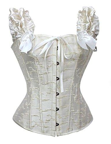 Blidece Women's Ruched Sleeves Bridal Overbust Steel Boned Waist Cinching Bustier Corset White ()