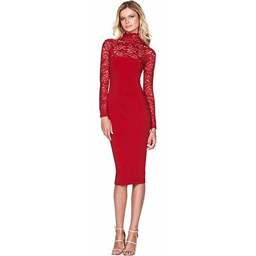 Autumn Lace Hollow Out Slim Party Dresses(Red) - 7